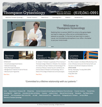 New WordPress website for Thompson Gynecology